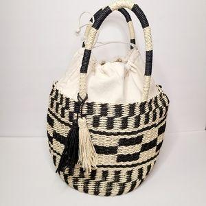 Woven Basket Boho Farmers Market Bag